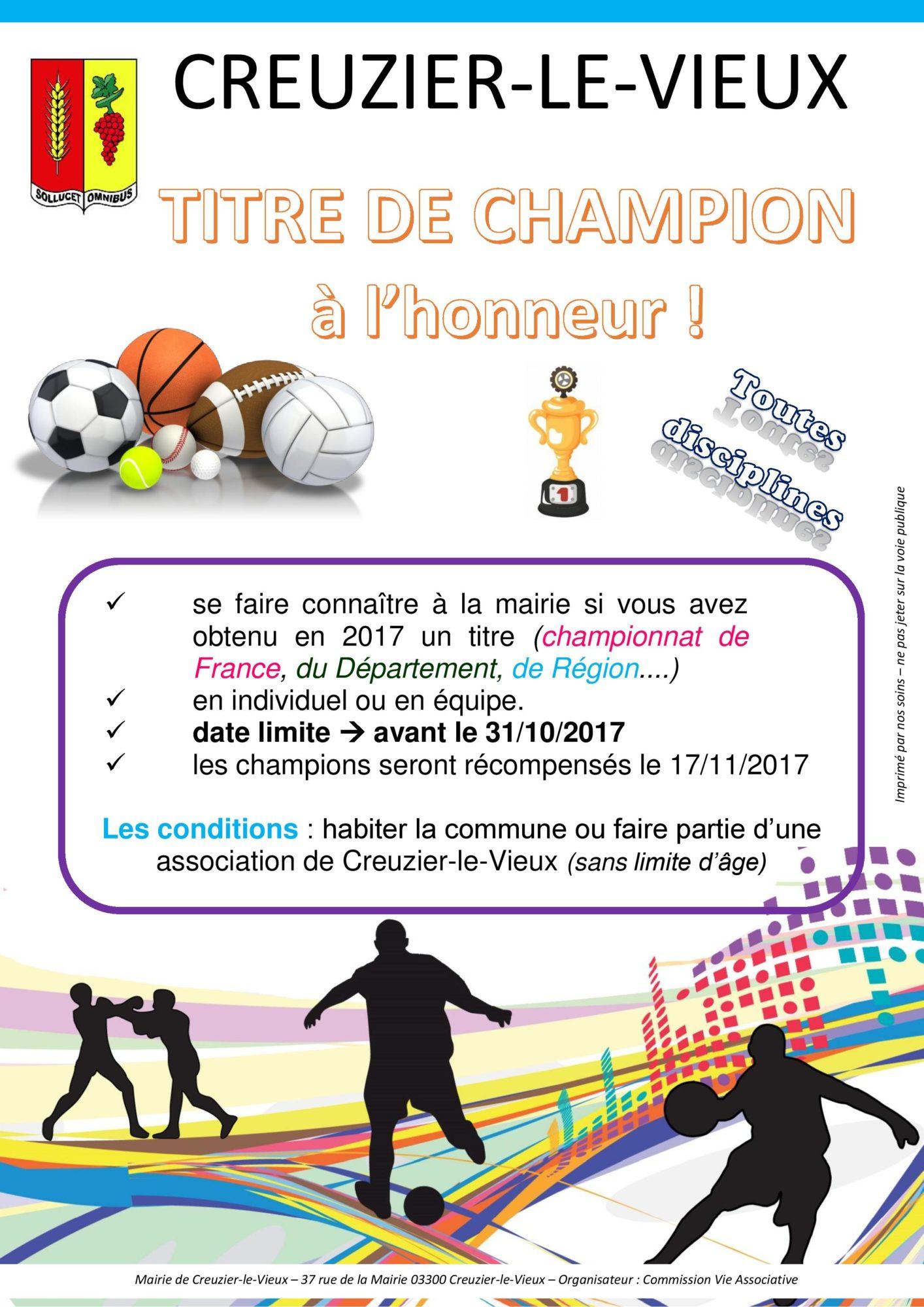 titre de Champion - 2017