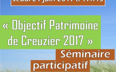 Séminaire « Objectif Patrimoine de Creuzier 2017 »