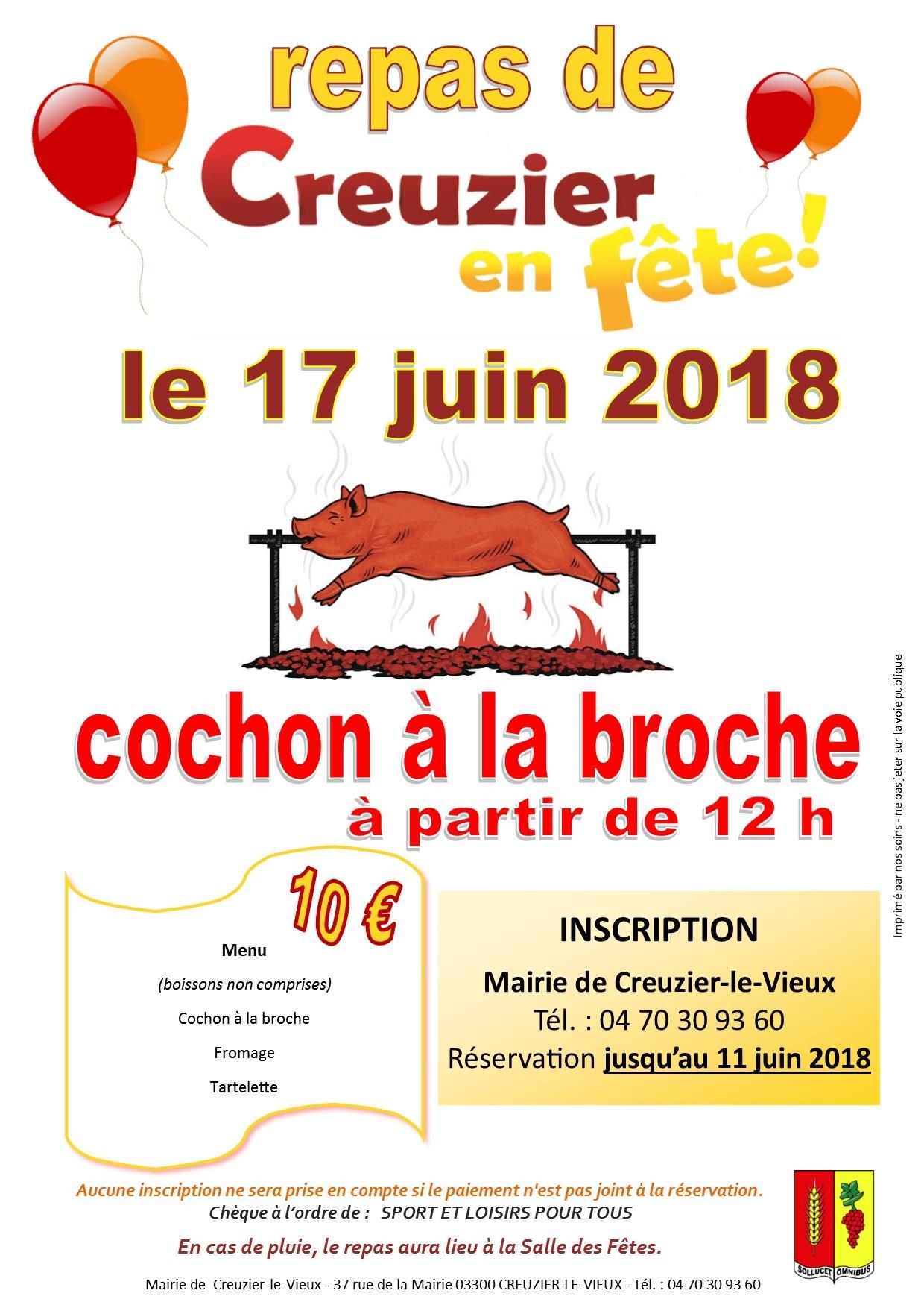 REPAS - COCHON A LA BROCHE - creuzier en fête