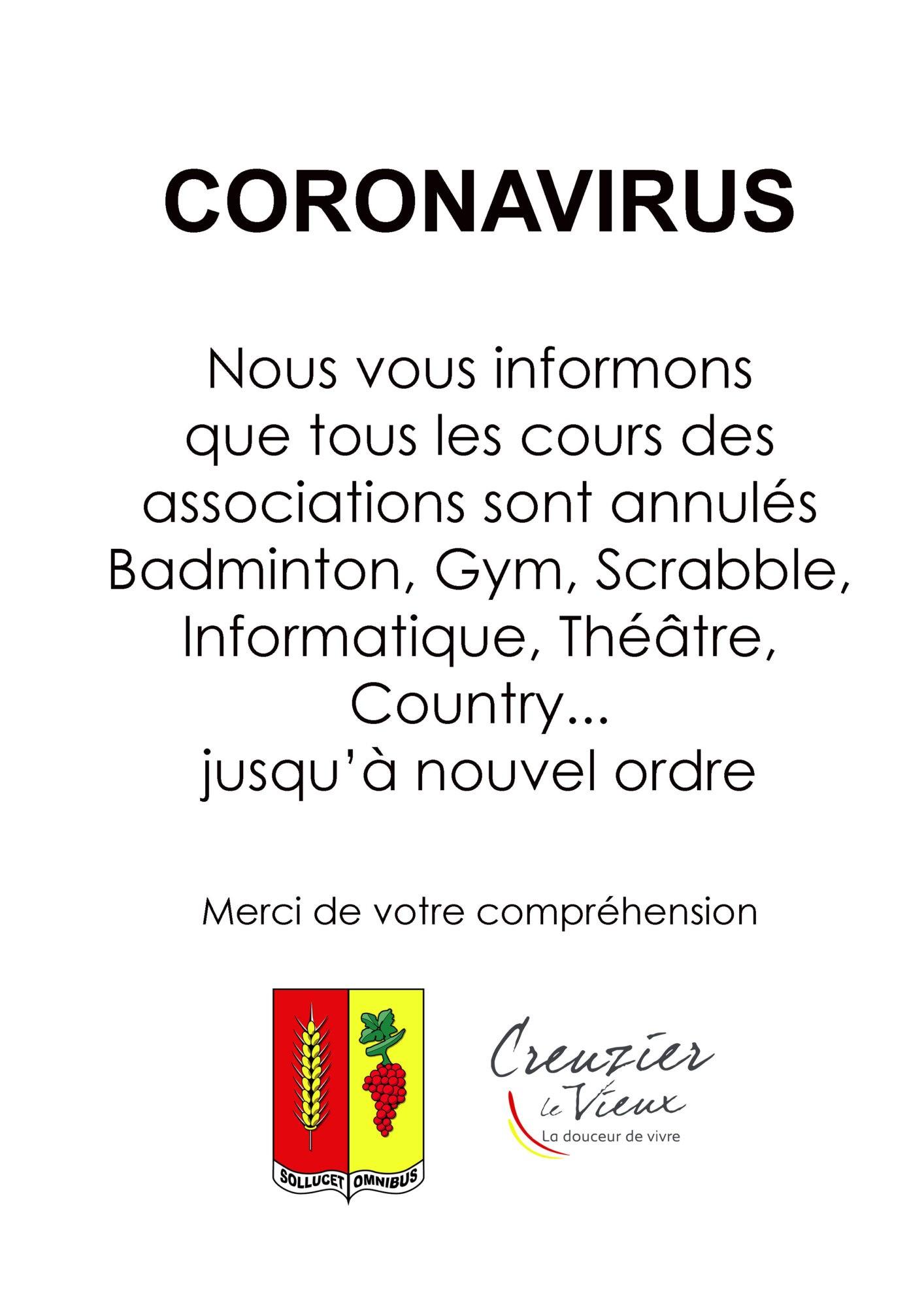 coronavirus cours annulé