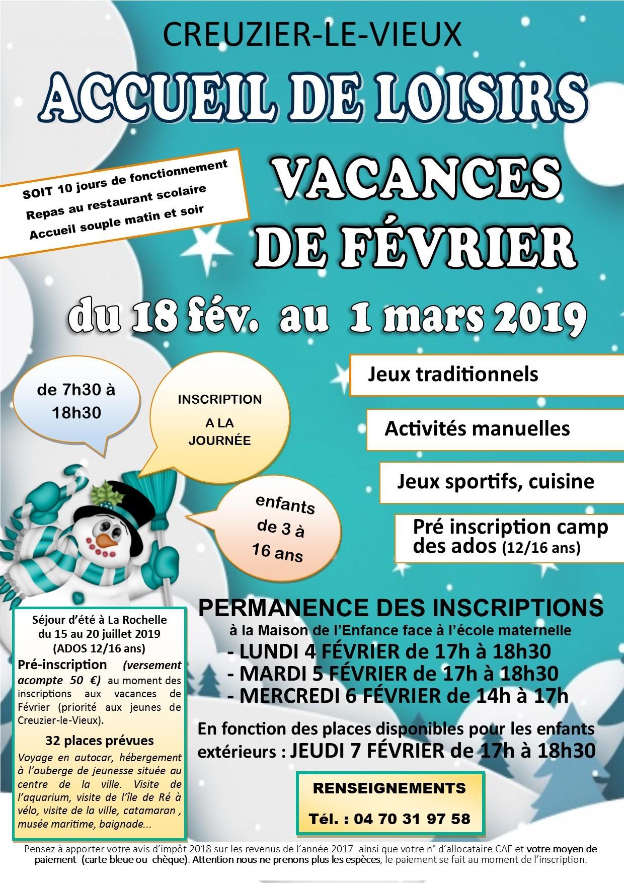 vacances de Fév 2019