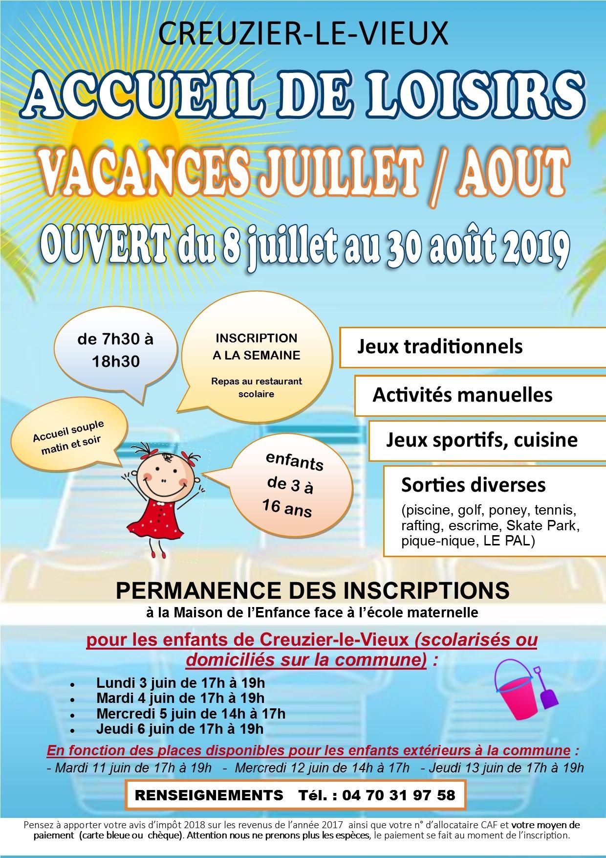 vacances juillet et août 2019