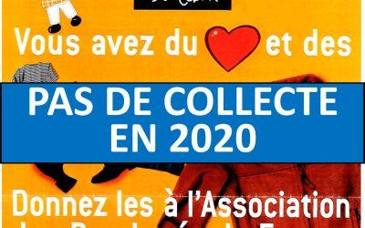 Pas de Collecte de textile en 2020 !